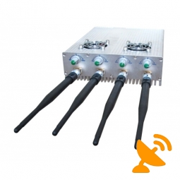 4 Antennas Adjustable + Remote Control 3G Cell Phone Jammer & WIFI Jammer 30M
