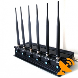 6 Antenna Adjustable 3G Cell Phone + Wifi + UHF + VHF Signal Blocker Jammer 50M