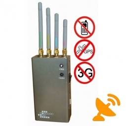 5 Band Portable GPS L1 & GSM,CDMA,DCS,PHS,3G Cell Phone Jammer 10M