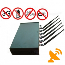 6 Antenna High Power Adjustable Cellphone Jammer Wifi GPS Jammer for School 50M